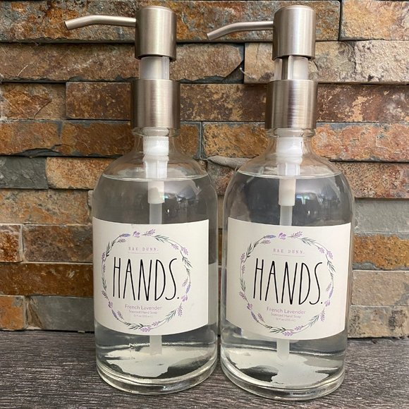 2-Rae Dunn HANDS-Hand Wash Soap Pumps-FR LAVENDER